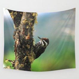 Striped woodpecker looking for breakfast Wall Tapestry