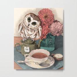 Morning Tea Owl Metal Print