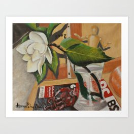 Magnolia, print of an original oil on canvas painting of the Italian painter Alfonso Palma Art Print