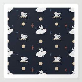 Bunnies on the Moon (Patterns Please) Art Print