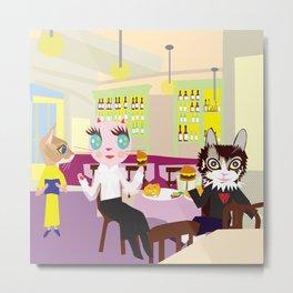 FASHIONISTA CATS burger  Metal Print