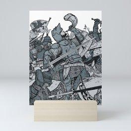 Saturday Knight Special STEEL BLUE / Vintage illustration redrawn and repurposed Mini Art Print