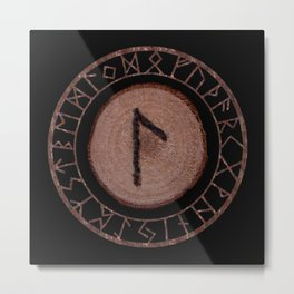 Laguz Elder Futhark Rune of the unconscious context of becoming or the evolutionary process Metal Print