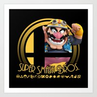 super smash bros Art Prints featuring Wario - Super Smash Bros. by Donkey Inferno