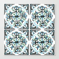 morrocan Canvas Prints featuring Morrocan tile  by Arabella India