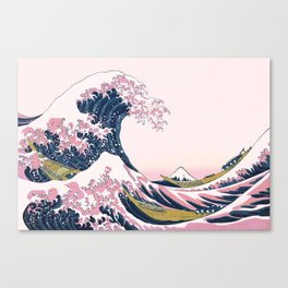 The Great Pink Wave off Kanagawa Canvas Print