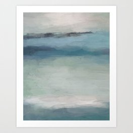 Abstract Painting, Light Blue, Teal, Sage Green Prints Modern Wall Art, Affordable Stylish Art Print