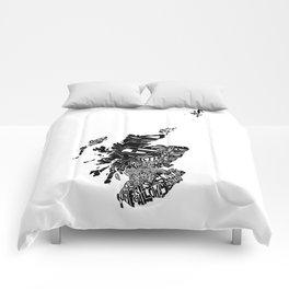 Typographic Scotland European map art Comforters