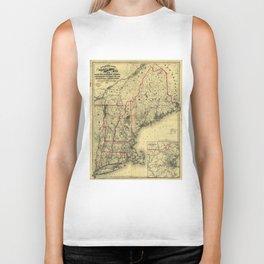 Map of Maine, New Hampshire, Vermont, Massachusetts, Rhode Island, Connecticut, Lower Canada (1860) Biker Tank