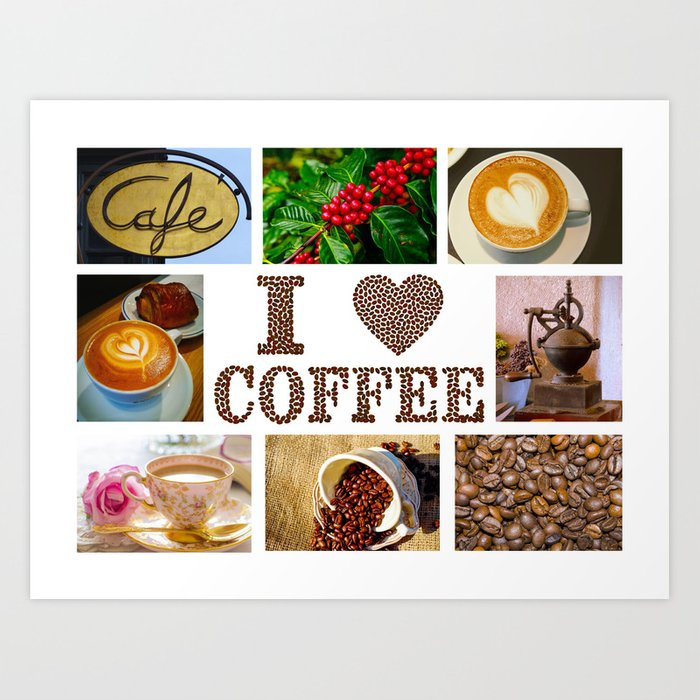 I Love Coffee Collage - Cafe or Kitchen Decor Art Print by eclectickitchen