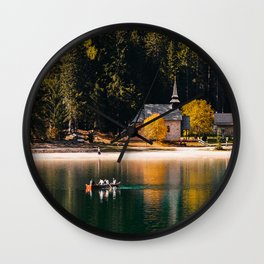 Lago di Braies, Lake Braies, Dolomite, South Tirol, Italy Wall Clock