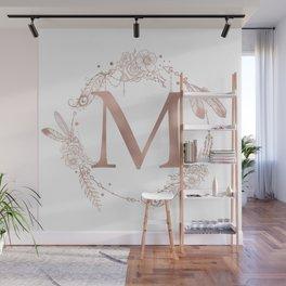 Letter M Rose Gold Pink Initial Monogram Wall Mural