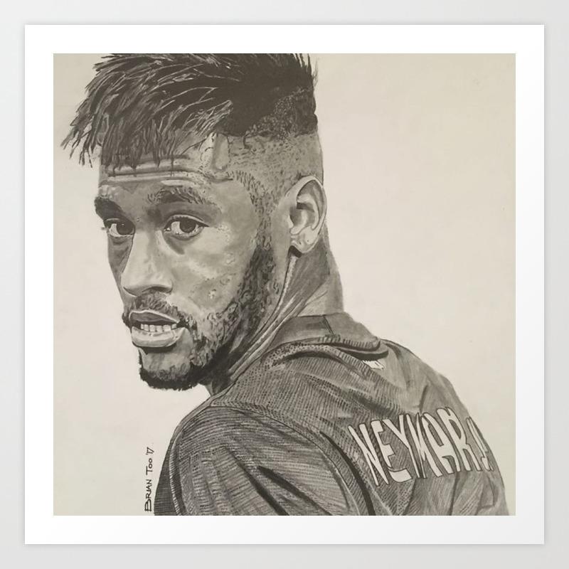 Neymar jr graphite pencil drawing art print