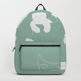 Girl with White Cat, Mint Color / Line Art Backpack