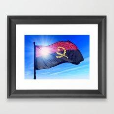 Angola flag waving on the wind Framed Art Print