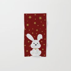 Christmas Bunny Red Marble Hand & Bath Towel