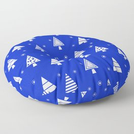 Holiday Christmas Tree Pattern (Blue) Floor Pillow