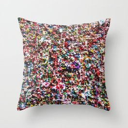 Pop of Color - Seattle Gum Wall Throw Pillow