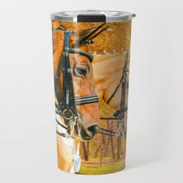 Beautiful horses, autumn park with yellow leaves as a background. Travel Mug