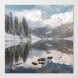 Dream Mountain - Maroon Bells Aspen Mountain Landscape Square Canvas Print