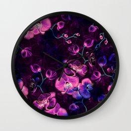 Dark Orchids Wall Clock