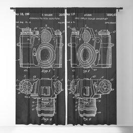 Vintage Camera Patent Chalkboard Blackout Curtain