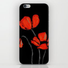 Red Poppies On Black by Sharon Cummings iPhone Skin