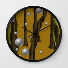one red ball in the forest. Wall Clock