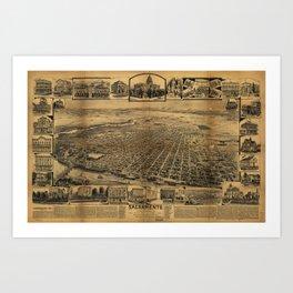 Aerial View of Sacramento, California (circa 1890) Art Print