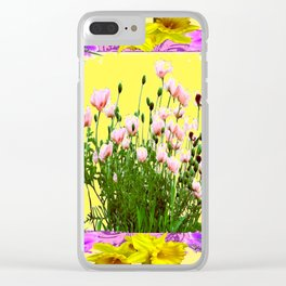 YELLOW DAFFODILS FLOWER GARDEN & PINK POPPIES DESIGN Clear iPhone Case