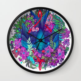Bird and blossoms wreath | Color Wall Clock