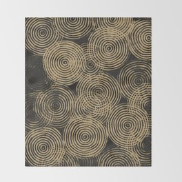 Radial Block Print in Charcoal and Gold Throw Blanket