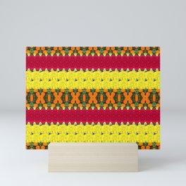 Yellow Orange Red Floral Stripe Mini Art Print