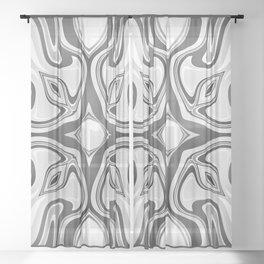RAVEN black and white graphic design native spirit motif Sheer Curtain