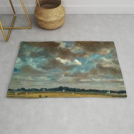 """John Constable """"Extensive Landscape with Grey Clouds"""" Rug"""