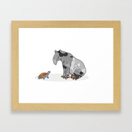 Tapir meets Turtle, Cute Animal Illustration, Black & White with Copper Metallic Accent Funny Turtle Framed Art Print