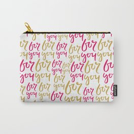 Modern hot pink yellow gold for you typography Carry-All Pouch
