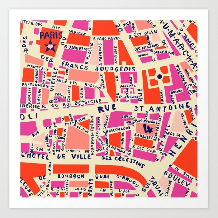 paris map pink Kunstdrucke