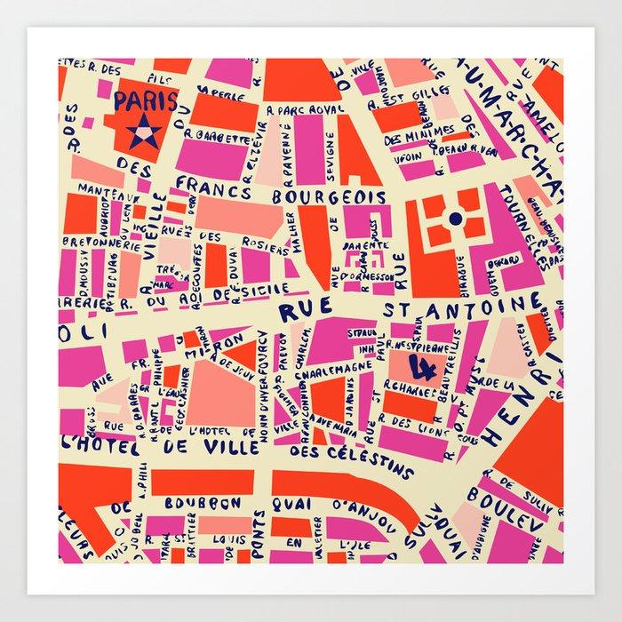 paris map pink Art Print