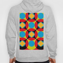 Very colorful circles, squares, intersections, geometrical fantasy. Hoody