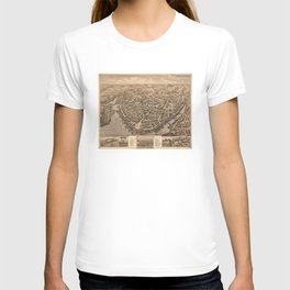 Vintage Pictorial Map of New London CT (1876) T-shirt