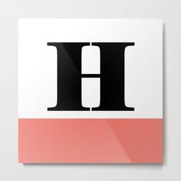 Monogram Letter H-Pantone-Peach Echo Metal Print