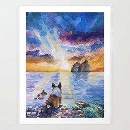 Corgi - dreamer and calm calm sunset Art Print
