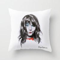 bjork Throw Pillows featuring Bjork Portrait by Raquel García Maciá