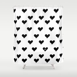 Retro Hearts Pattern Black White Shower Curtain