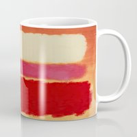 rothko Mugs featuring ROTHKO-WHITE CLOUD OVER RED by things collectable plus