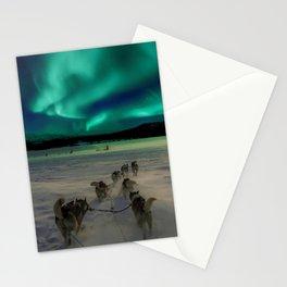 Winter Northern Lights Dog Sled (Color) Stationery Cards