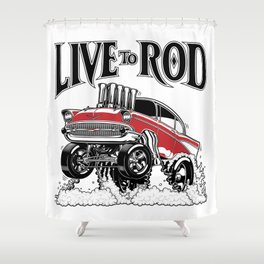 1957 CHEVY CLASSIC HOT ROD Shower Curtain
