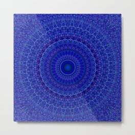 Blue Psychedelic Floral Mandala Metal Print