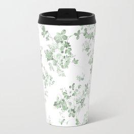 Elegant vintage green white roses shabby floral Travel Mug